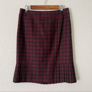 BROOKS BROTHERS || Wool Plaid Pleated Skirt